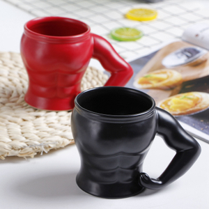 3D Black Muscle Man Creative Coffee Ceramic Mug