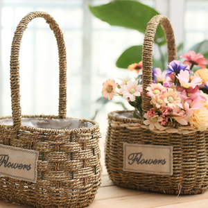 Wholesale Handmade Seagrass Garden Basket Plant Flower Pot with Handle