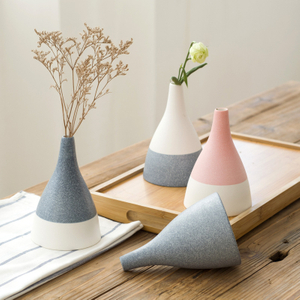 Ceramic Porcelain Stoneware Color Glazed Logo Decal Design Decorative Vase