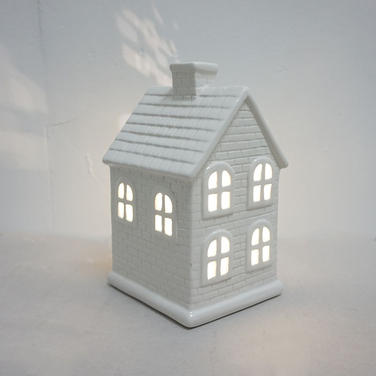 White Porcelain Christmas House with Led Light
