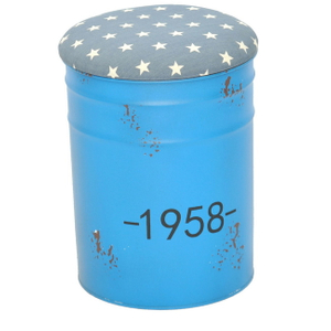 Round Tin Bucket Storage Ottoman Stool Chair