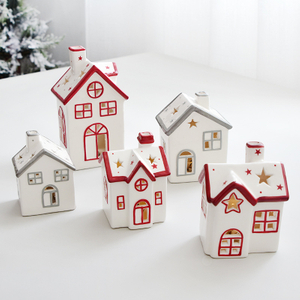Popular Design Ceramic Lights Christmas Village Houses with LED