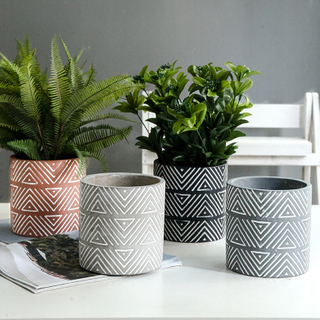 Hot new products straw plaited article handmade barrel Ceramic Indoor Flower pot for home decor