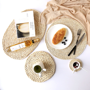 Round Natual Straw Weave Water Hyacinth Dinner Pad Mat Placemat Tablemat