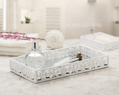 Top Quality Contemporary Small Metal Serving Tray with Glass Mirrored