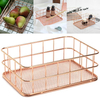 Copper Storage Basket Cosmetic Organizer Rose Gold Makeup Holder Metal Wire Basket