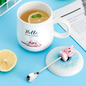 Creative Color Animal Cat Heat-resistant Mug Cartoon with Bamboo Lid Cup Kitten Coffee Ceramic 3d Mugs
