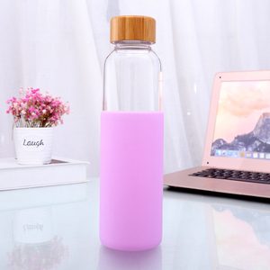 Unbreakable Glass Water Bottle with Soft Sleeve / Silicone Seal with Bamboo Lids