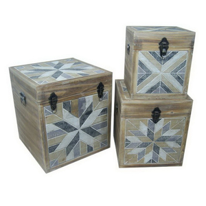 Useful Paris Trunks/UK Style Wood Storage Boxes with Drawers