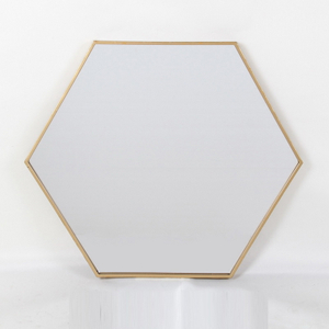 Hexagon Hanging Mirror with Metal Chain Decorative Wall Mirror