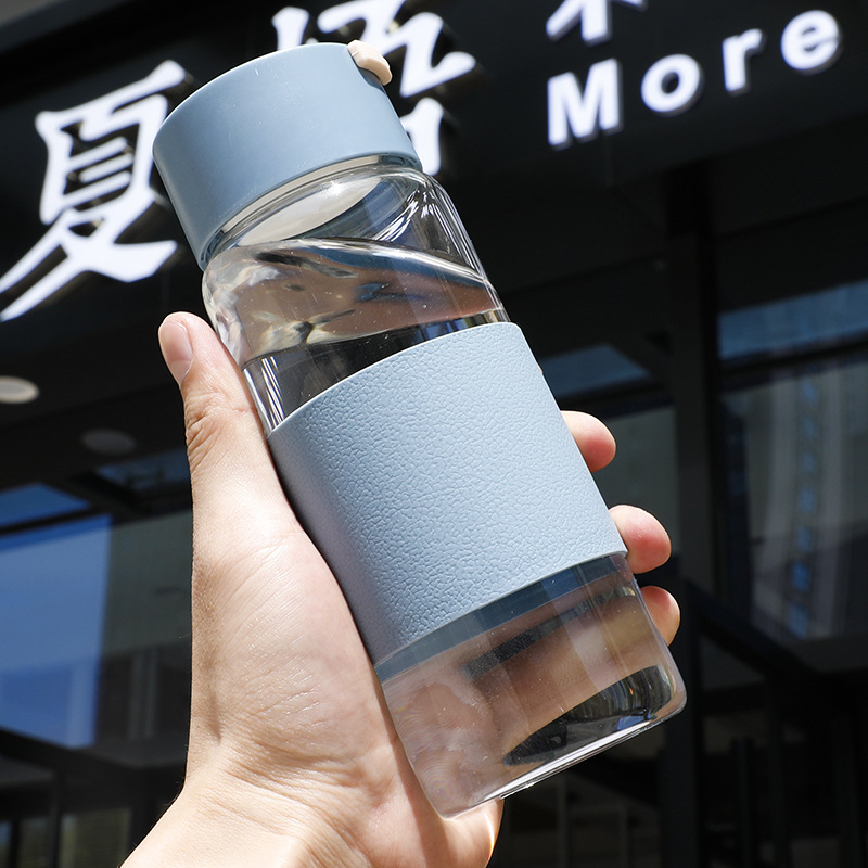 550ml High Quality Borosilicate Bamboo Lid Glass Water Bottle with Silicone Sleeve