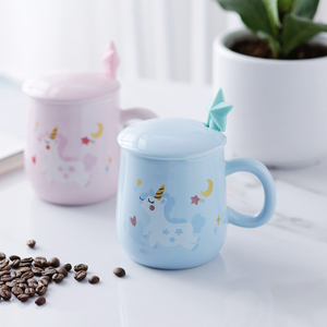 Coffee Mug Ceramic Star Ceramic Mug Set with Lid And Spoon