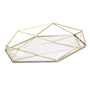 Wholesale Gold Mirror Tray Perfume Vanity Metal Jewelry Organizer Makeup Tray