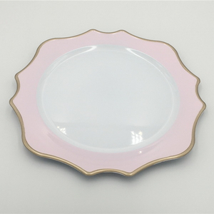 Fancy Pink Style Melamine Custom Plastic Decorative White Dishes Plates