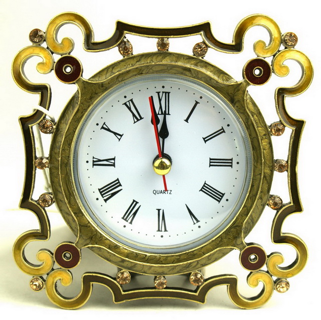 ZINC ALLOY PEWTER CRYSTAL Fancy Digital ANTIQUE TABLE CLOCK