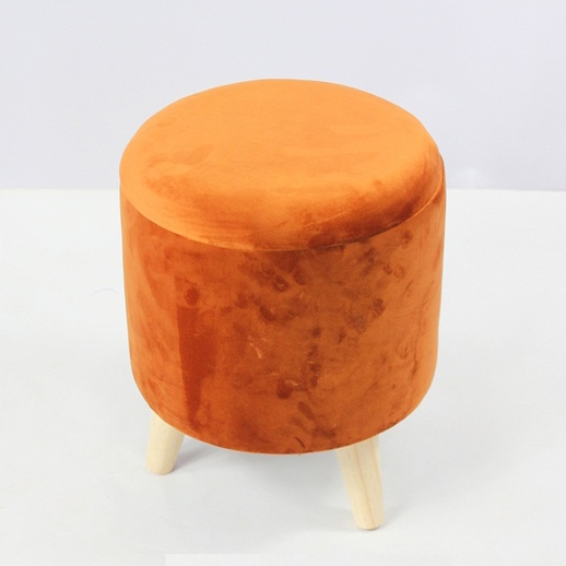 Fabric Round Tufted Footstool Ottoman With Wooden Legs
