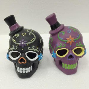 New Arrival Wholesale Halloween Ceramic Skull Couple Head
