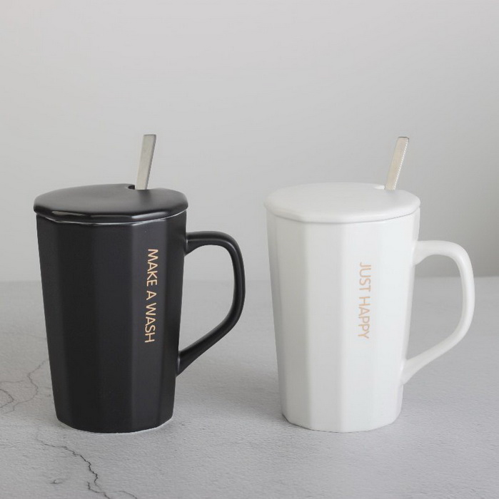Stripe Design Couple's Standard Size Ceramic Mug with Lid And Spoon Made In China