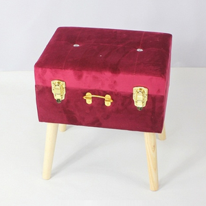 High-end Red Rectangle Folding KD Homemade Fabric Foot Rest Stool
