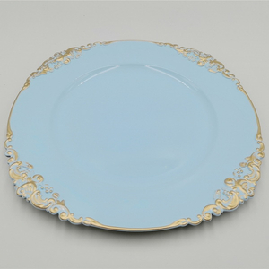 China market Plastic products wholesale sky blue charger plates with gold line