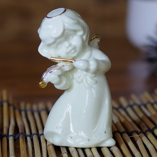 Decorative White Ceramic Angel Wing for Plating Craft