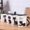 11oz Cat Design Ceramic Coffee Mug White And Black Water Mug Cup