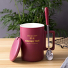 Food Grade Dishwasher Oven Safe Ceramic Coffee Mug with Lid And Spoon