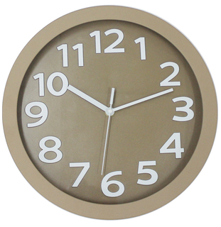 Brown Background Silver Numbers 3D Plastic Wall Clock
