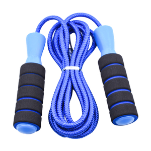 Blue jump rope fitness fat burning weight loss rope sports plastic handle skipping rope