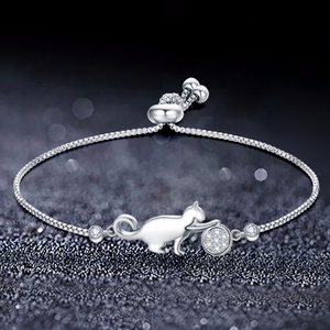 Trendy Cubic Zirconia Crystal Cat And Ball Charm Bracelets for Women Fashion Korean Jewelry Gift Pulseras Mujer Moda 2020