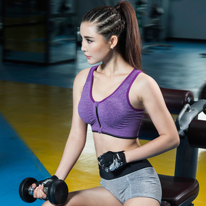 Wirefree Racerback Sport Bra,Breathable Removable Padding Fitness Zipper Sport Bra