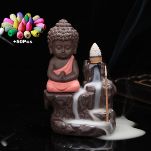 Burner Creative Home Decor The Little Monk Small Buddha Censer Backflow Incense Burner Use In Home Teahouse