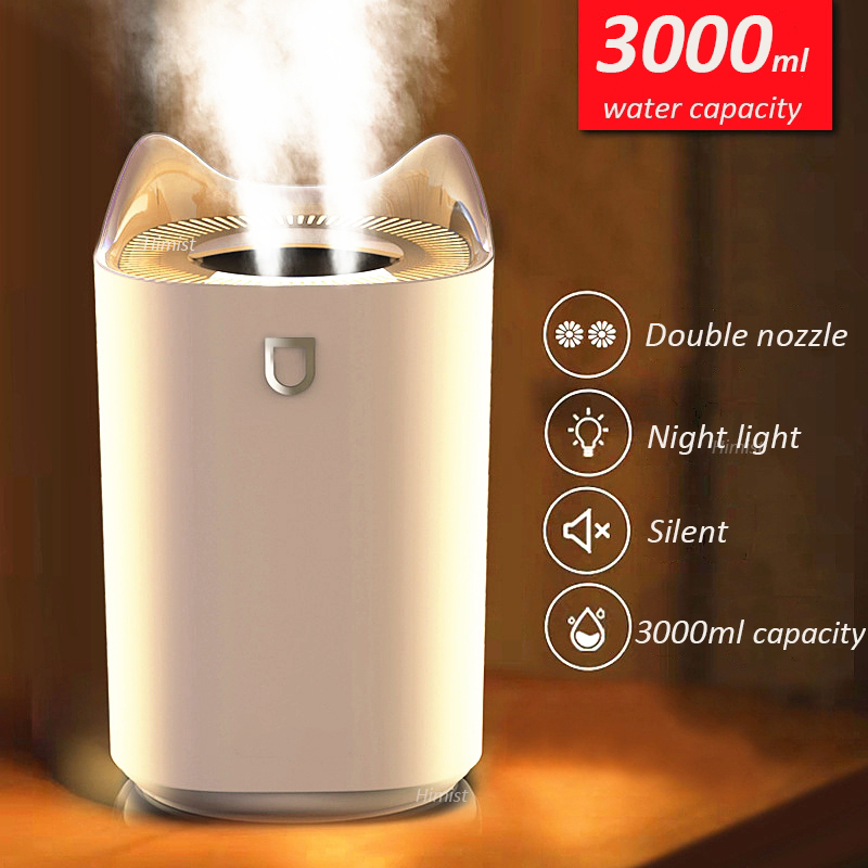 Home Air Humidifier 3000ML Double Nozzle Cool Mist Aroma Diffuser with Coloful LED Light Heavy Fog Ultrasonic USB Humidificador