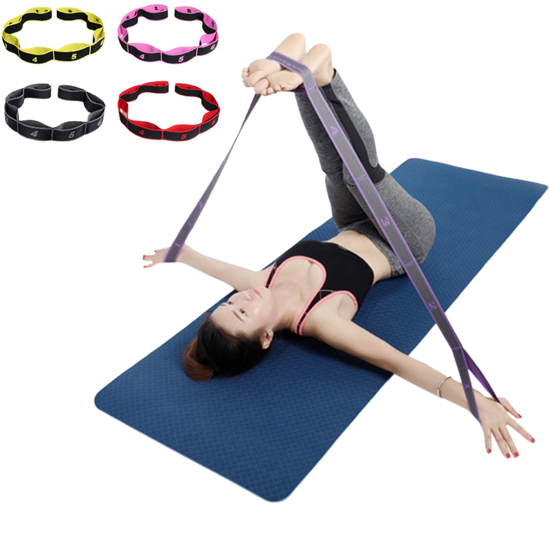 Yoga Pull Strap Belt Polyester Latex Elastic Latin Dance Stretching Band Loop Yoga Pilates GYM Fitness Exercise Resistance Bands
