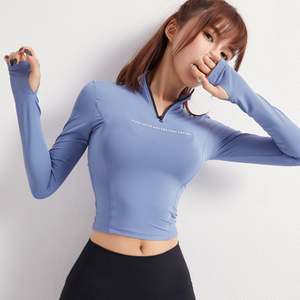 Yoga tops elastic neckline zipper tight show that show hilum