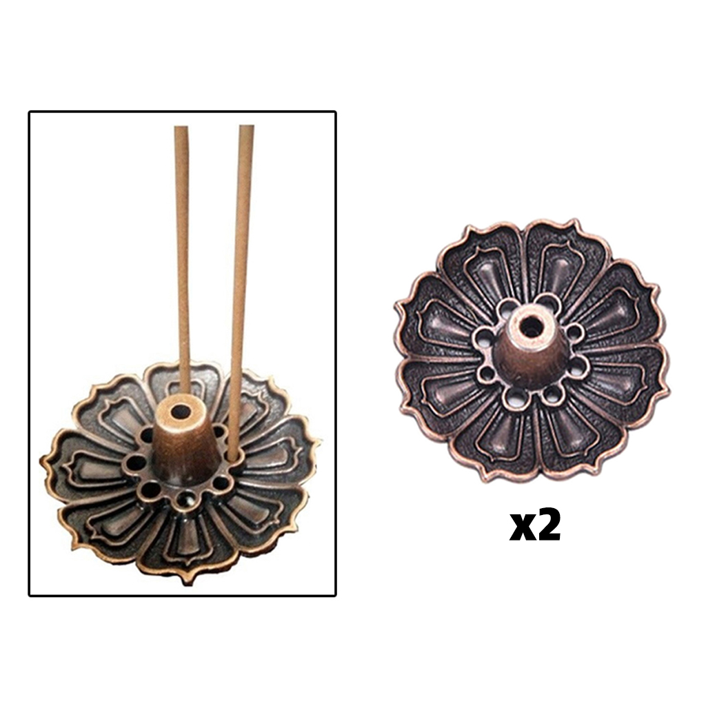 Alloy Incense Burner Cone & Stick Holder Plate Buddhism Coil Lotus Censer 2 Orders