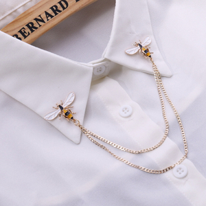 Cute Bee Vintage Brooches Pins Animal Alloy Metal Chain Brooch Broches Man Suit Shirt Collar Tassel Lapel Pin Women Jewelry Gift