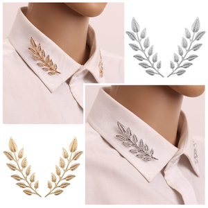 1Pair Trendy Brooch Jewelry Exquisite Tree Leaf Pins Brooches For Women Leaves Brooch Pin Gold Collar Needle Broche