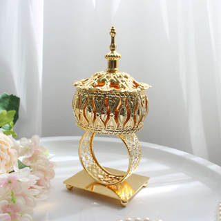 Small Electroplate Golden Metal Incense Burners Portable Porcelain Censer Buddhism Incense Holder Home Tea House Yoga Studio