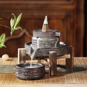 Ceramic Retro Ceramic Backflow Incense Burner Waterfall Censer Incense Holder Aromatherapy Furnace Home Decoration
