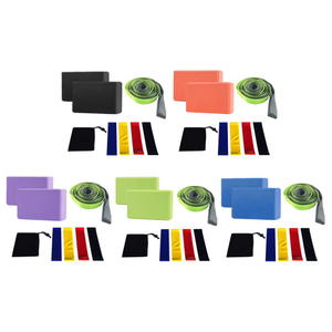 Durable Yoga Belts Portable Delicate Design 8pcs/set EVA Yoga Blocks Bricks Latex Rubber Resistance Bands Stretch Strap