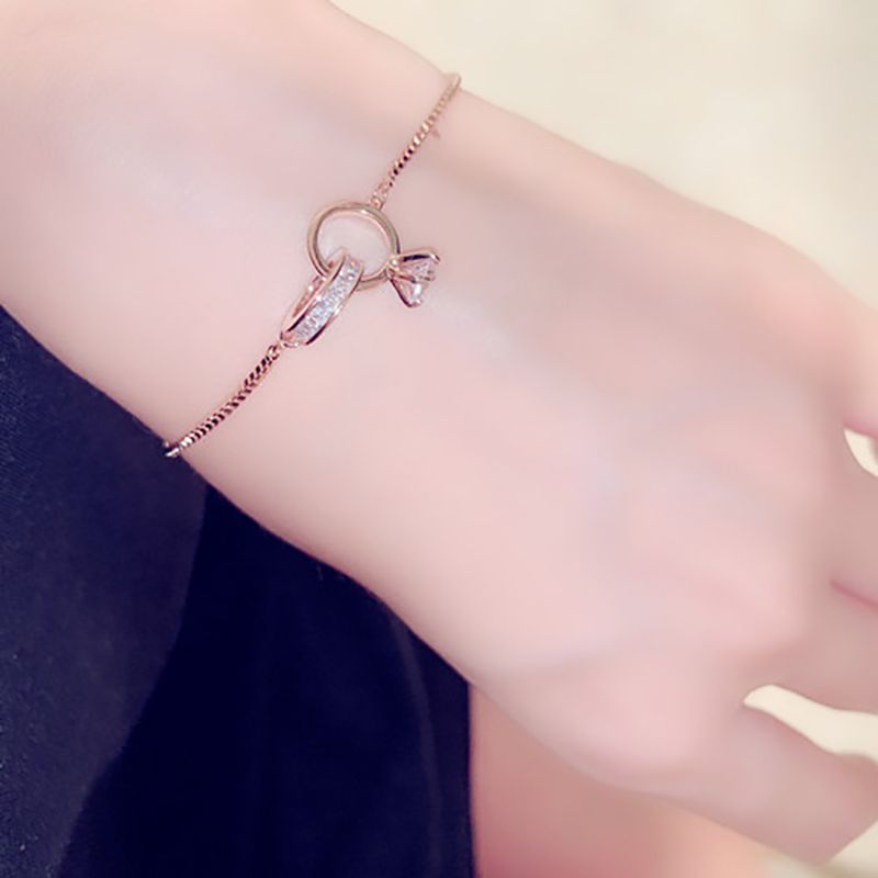 Exquisite Shine AAA Zircon Buckle Women Bracelet Handmade Top Quality Sparking CZ Copper Plated Read Gold Pulseras Brasselet