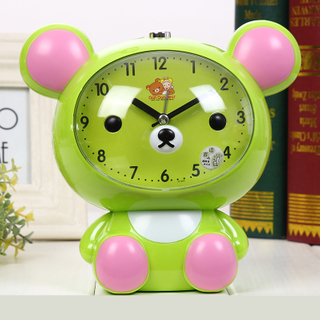 Cute Colourful White Emboss Dial Numberdesign CE ABS Blue 12cm Slient Twin Bell Alarm Clock for Bedroom Kids