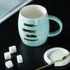 Creative Personality Cup Ceramic Mug with Cover Scoop Trendy Couple Drink Cup Family Coffee Cup
