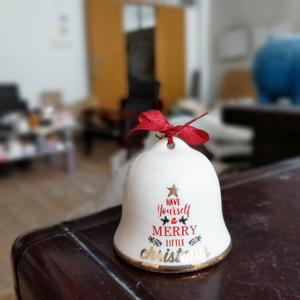 Wholesale Ceramic X'mas Tree Ornament Christmas Bell Ornament