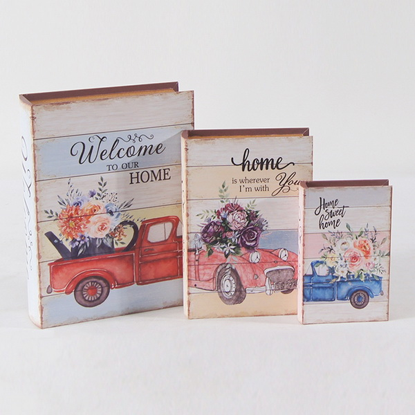 Wholesale new product high quality canvas wooden book shape gift box
