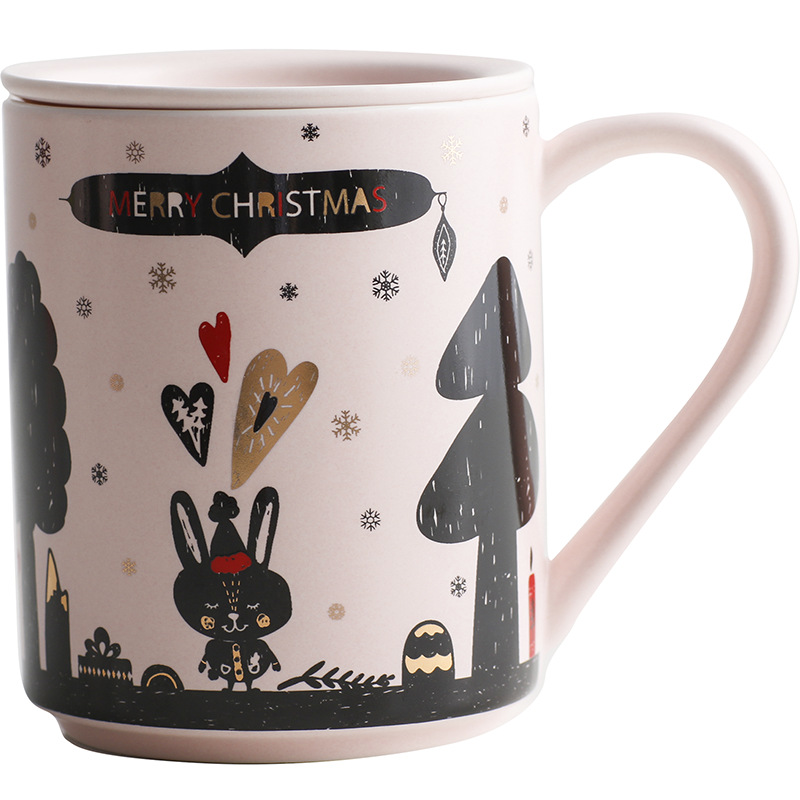Ceramic Cover Christmas Milk Mug Mug Coffee Mug Fun Water Mug Pink Christmas Mug