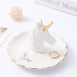 Original Ceramic Rainbow Unicorn Ring Dish Holder Jewelry Holder Dish Trinket Dish