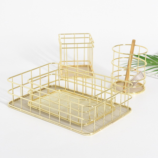 Nordic Rose Gold Metal Wire Storage Basket Office Desktop Table Cosmetics Organizer Iron Basket