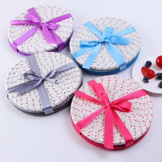 Round Weaving Plastic Lurex Metallic Yarn Table mat